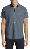 Theory Zack S. Trace Printed Short-Sleeve Sport Shirt, Navy