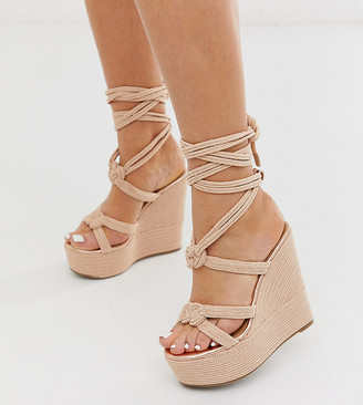 ASOS DESIGN Wide Fit Will Power tie leg rope wedges in rose gold