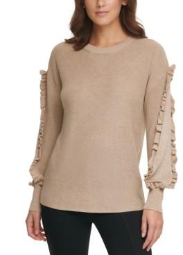 Calvin Klein Ribbed Ruffle-Trim Sweater
