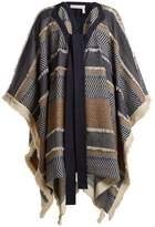 See by Chloe Contrast-panel striped woven poncho