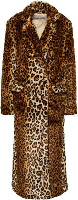 Rebecca Minkoff Turner Double-breasted Leopard-print Faux Fur Coat