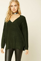 Forever 21 FOREVER 21+ Dropped-Sleeve V-Neck Sweater