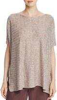 Eileen Fisher Petites Grid Texture Linen Top
