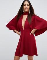 Asos Choker Kimono Plunge Mini Dress