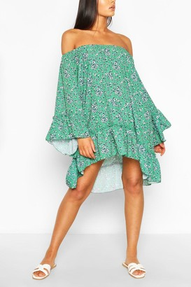 boohoo Floral Flared Sleeve Ruffle Hem Swing Dress