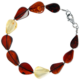 Goldmajor Sterling Silver Baltic Amber Teardrop Bracelet, Multi