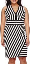 Bisou Bisou Sleeveless V-Neck Striped Sheath Dress - Plus