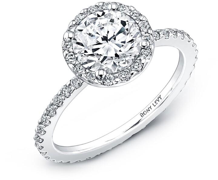 Bony Levy Pave Halo Round Engagement Ring Setting