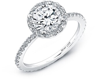 Bony Levy Pave Halo Round Engagement Ring Setting