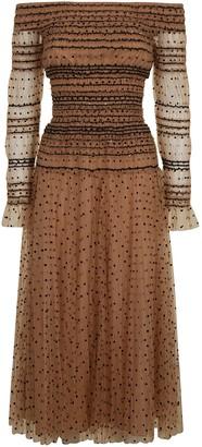 Self-Portrait Shirred Polka-dot Off Shoulder Midi Dress