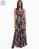 White House Black Market Petite Paisley Print with Removable Scarf Maxi Dress