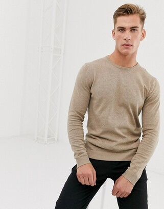 Selected cotton crew neck knitted jumper in sand-Tan