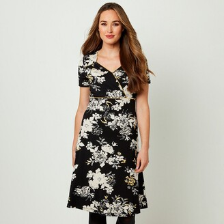 Joe Browns Floral V-Neck Dress with Short Sleeves