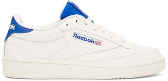 Reebok Classics Off-White and Blue Club C 85 Sneakers