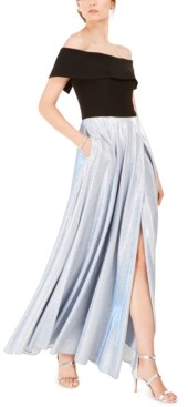 Betsy & Adam Off-The-Shoulder Glitter-Skirt Gown