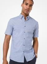 Michael Kors Striped Cotton Dobby Short-Sleeve Shirt