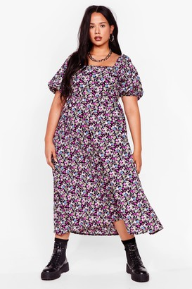 Nasty Gal Womens Smock It Off Plus Floral Midi Dress - Purple - 16