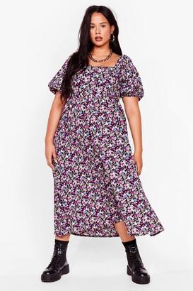 Nasty Gal Womens Smock It Off Plus Floral Midi Dress - Purple
