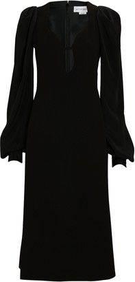 Victoria Beckham Balloon Sleeve Crepe Midi Dress