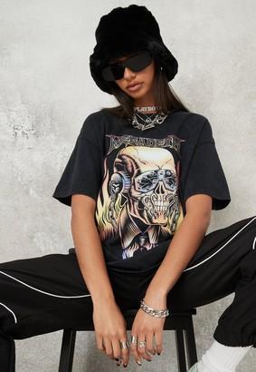 Missguided Black Washed Megadeth Oversized T Shirt