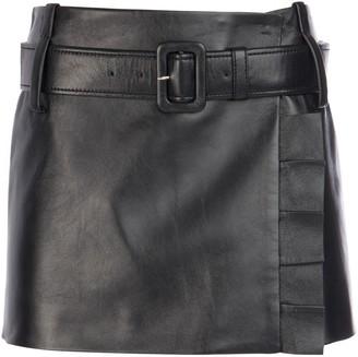 Prada Belted Ruffle Detailed Leather Mini Skirt