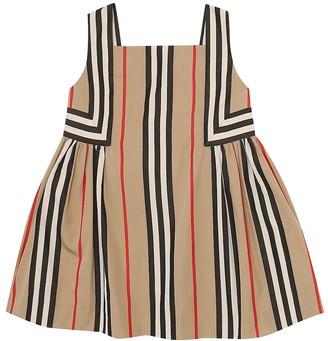BURBERRY KIDS Baby Icon Stripe cotton-poplin dress