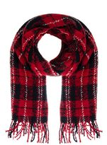 Quiz Red And Black Check Scarf