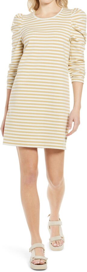 Rebecca Minkoff Talia Stripe Puff Long Sleeve Cotton Dress