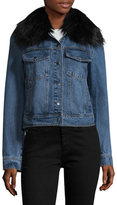 Bagatelle Faux Fur Collar Cotton Trucker Jacket
