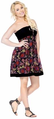 LA LEELA 3 in 1 100% weight Pure Cotton Women Bikini Swimsuit Cover up Casual Strapless Dress Halter Neck Sundress Maxi Skirt Rings Sleeveless Dress Ladies