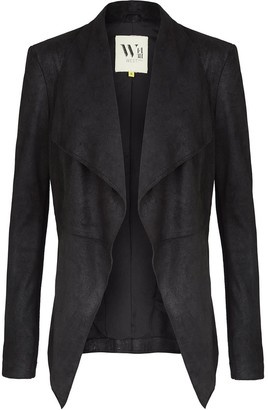 Isabella Collection West 14th On Columbus Clean Drape Jacket Distressed Black Leather
