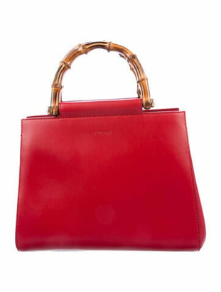 Gucci Small Nymphea Bamboo Top Handle Bag w/ Tags Red