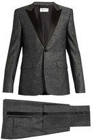 Saint Laurent Sparkle Satin-lapel Wool-blend Tuxedo