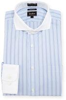 Neiman Marcus Trim-Fit Non-Iron Striped Dress Shirt, Blue