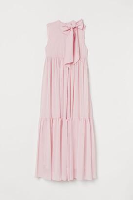 H&M MAMA Bow-detail Long Dress - Pink