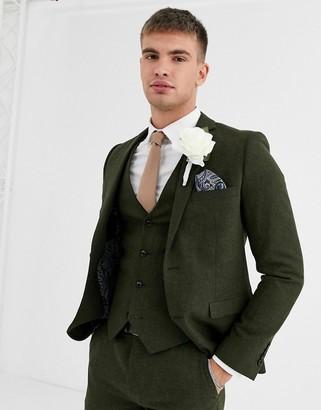 Harry Brown wedding tweed heritage slim fit suit jacket-Green
