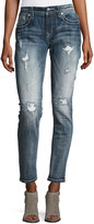 Miss Me Skinny Embroidered Denim Jeans, Dark Blue