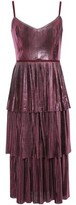 Marchesa Tiered Metallic Plisse-jersey Midi Dress