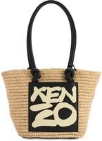 Kenzo Raffia & Faux Leather Tote Bag