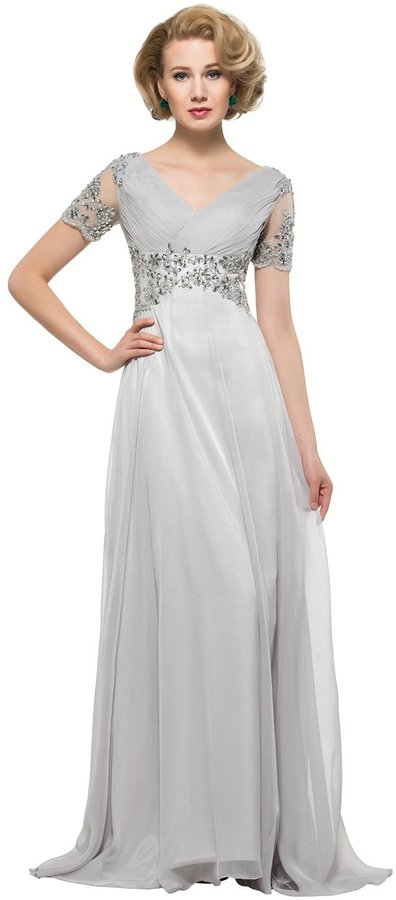Bridess Women's Mother of the Bride Dress with Sleeve Long Evening Gown