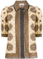 Sandro Paris printed puff sleeve blouse