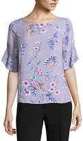 Liz Claiborne Ruffle Sleeve Round Neck Woven Floral Blouse