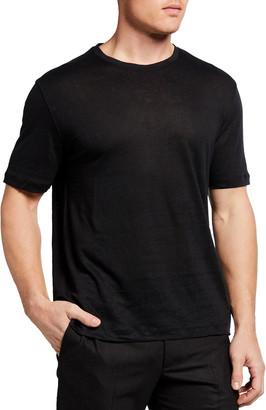 Ermenegildo Zegna Men's Solid Linen Crew T-Shirt