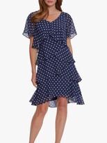 Thumbnail for your product : Gina Bacconi Loxie Ruffle Polka Dot Dress, Navy