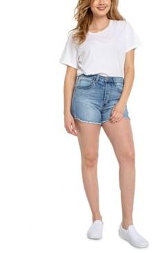 Celebrity Pink Juniors' High-Rise Cut-Off Denim Shorts