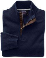 Charles Tyrwhitt Navy Cashmere Zip Neck Sweater Size XXXL
