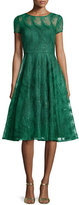 Aidan Mattox Feather-Lace Open-Back Party Dress