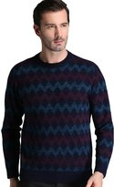 Oncefirst Men's Argyle Crew-Neck Long-Sleeve Soft Acrylic Sweater