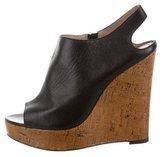 Jean-Michel Cazabat Leather Peep-Toe Wedges