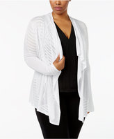 INC International Concepts Plus Size Pointelle-Knit Draped Cardigan, Only at Macy's